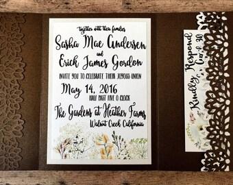 Unique wedding invitation, handmade pocketfold invitation, rustic bronze printed invitation set with pocket, country theme, DIY wedding