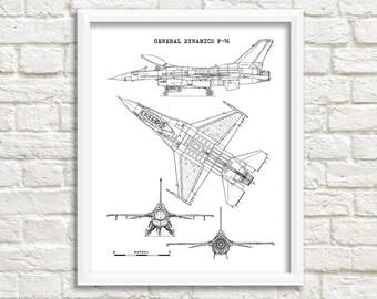 "F-16 Blueprint, Aircraft Blueprint, F-16 Fighting Falcon, Instant Download, F16 Fighter Jet, Air Force Decor, Aviation Art, 8x10"", 11x14"""