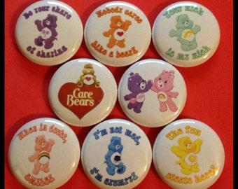 "8 Brand New 1"" ""Care Bears"" Button Set"