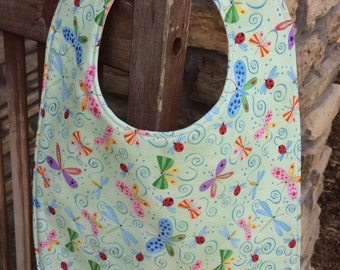 TODDLER or NEWBORN Bib: Butterflies on Green, Personalization Available