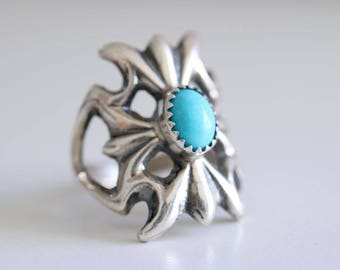 Vintage collection. Sterling silver Sand cast ring with Turquoise. Sand cast, natural Turquoise, boho ring, vintage ring, navajo ring.