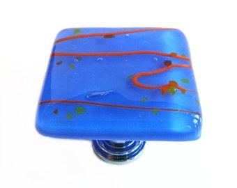 Fused Glass Knob Cabinet Hardware in Royal Blue with Orange Confetti