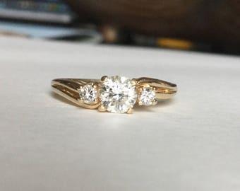 Diamant Vergangenheit vorhanden Zukunft Ring 14 k gelb gold 2/3 cttw