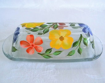 Floral butter dish, painted butter dish, glass butter dish, butter dish with lid, kitchen decor, serving butter dish
