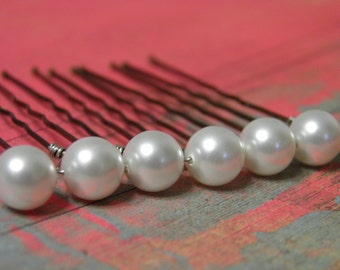 6 White 8mm Swarovski Crystal Pearl Hair Pins