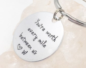 Long Distance Keychain, Deployment Gift for Boyfriend, Deployment Keychain, Long Distance Relationship Gift, Anniversary Long Distance