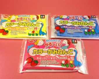 Super light paper clay for handcraft / 3colors and 3packs/ Made in Japan