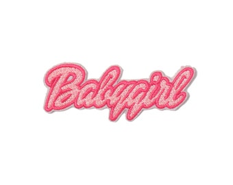 Babygirl Embroidered Patch Iron On Badge Gift Tumblr Hipster Grunge Kawaii Cute Baby Girl Drink Shell Mermaid Pink Feminist Princess Unicorn