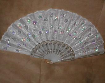 Vintage White Beaded Folding Fan