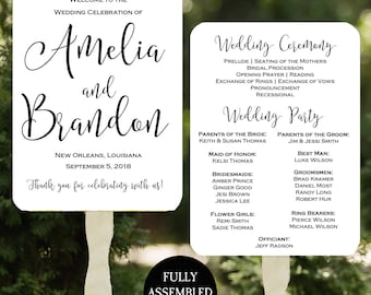 Wedding Program Fans Printable or Printed/Assembled with FREE Shipping - Modern Collection