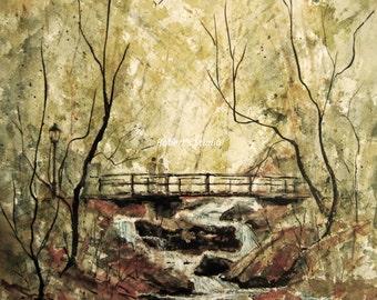 Watercolor Landscape Painting Print, watercolor art, watercolor painting, park bridge watercolor, park bridge painting, woodland, park.