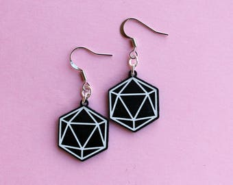 Pair of d20 Icosahedron Earrings, black and white, laser cut acrylic