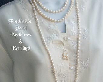 "FRESHWATER PEARL NECKLACES 16""-36"" Pearl Earrings Chic Classic Corporate Elegant Fashion Beach White Wedding Bridal Gift Box"