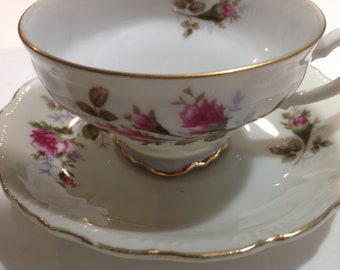 Royal Rose Fine China Footed Tea Cup and Saucer, Japan