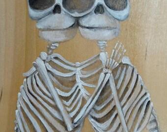 Twin Skeletons - Conjoined Twin Skeletons - Skeleton Painting - Painted Wood Plank - Painted Pallet Wood - Halloween Skeleton