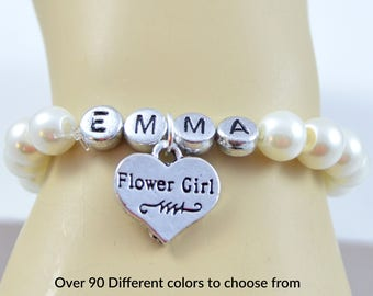 Flower Girl Name Bracelet, Personalized Jewelry, Flower Girl Gift, Monogram Bracelet, Wedding Jewelry, Pearl Bracelet, Flower Girl Jewelry