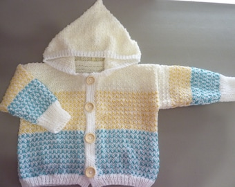 Knit Cardigan Hoodie White Teal Honey Cream 24 mo - 2T Wooden Buttons