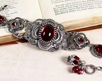 Medieval Bracelet, Ruby, Renaissance Jewelry, Bridal Jewelry, Tudor Jewelry, Ren Faire, SCA, Wedding, Choose Your Color, Canterbury