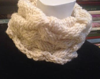 Ivory Knitted Chunky Cable Neck Warmer Cream Scarflette