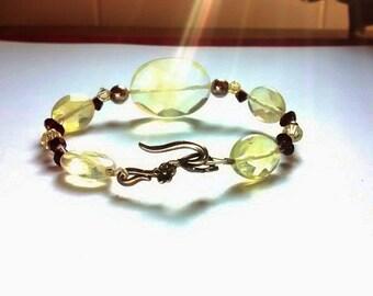 Handcrafted Pineapple Quartz & Swarovski Crystal Bracelet