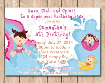 Waterpark Girl Birthday Party Invitation | Water park, Water slide, Pool, Splash Fun - 1.00 each printed