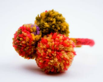 Pom-Pom Knitted Girl's Headband French Knit Headband, Young Girl Hair, Multicolored pom-poms Headband