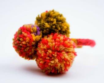 Pom-Pom Knitted Girl's Headband French Knit Headband, Young Girl Hair, Multicolored pom-poms Headband