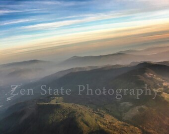 Cascade Mountains Landscape Photograph. Pastel Pink Blue Clouds Fog Fine Art Photography. Nature Wall Decor. Canvas Gallery Wrap Home Decor.