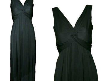 John Charles Grecian Goddess Black Maxi Evening Dress. Size 8. Vintage 1980s.