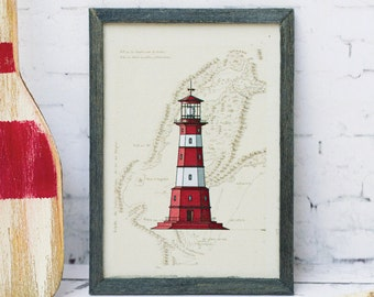 Miniature framed print; lighthouse, vintage map; 1:6 scale