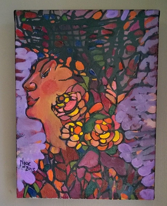 "ROCK YOUR BUDS 12x16"" oil on canvas, flowers, floral wall decor, original painting by Nguyen Ly Phuong Ngoc"