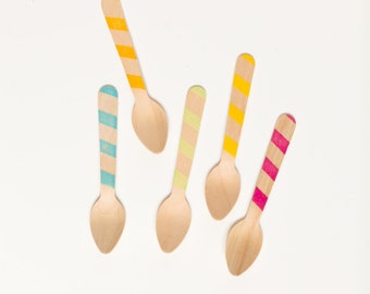 Graphic Stripes in Great Colors - 20 Wood Ice Cream Spoons