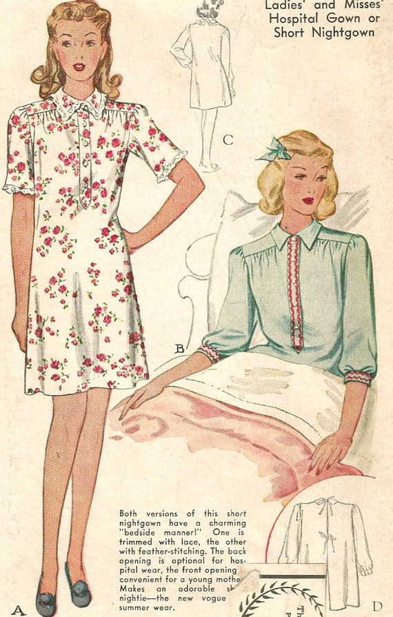 Items similar to Vintage 40s McCall 1060 Misses Hospital Gown, Bed ...