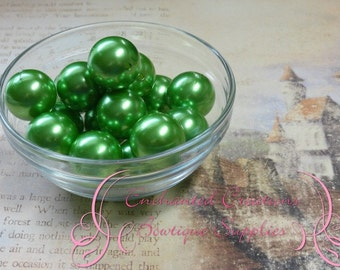 20mm Bright Green Acrylic Pearl Beads Qty 10