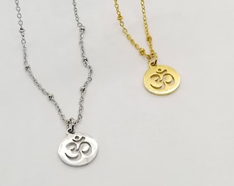 Om Necklace, Om Symbol Necklace, Dainty Om Necklace, Silver Om Necklace, Gold Om Necklace, Om Jewelry, Yoga Jewelry