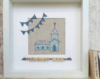 Christening church framed picture, personalised baptism picture, Holy Communion picture