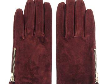 Suede zipper gloves