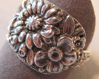 Sterling Floral Pattern  Ring