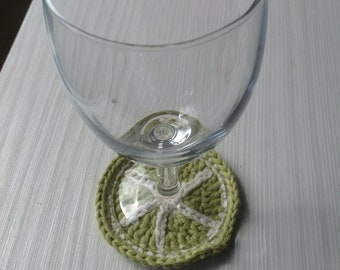 Crocheted lime coaster