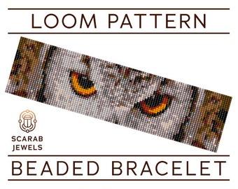Owl Eyes Pattern | Loom Beading Bracelet | Cuff Bead Pattern | Miyuki Delica | PDF Instant Download