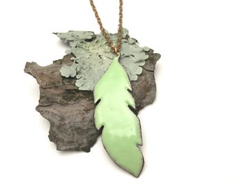 Take flight necklace, enameled jade feather pendant on chain, gift for her.