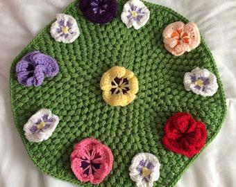 Beautiful Crochet Pansy Flower Center Piece