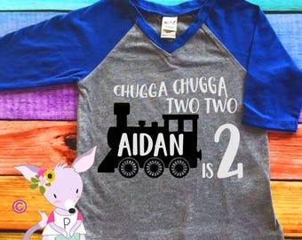 Chugga Chugga Two Two Kids Birthday Shirt Train Birthday Shirt Name 2nd birthday train shirt chugga chugga two two Shirt Kids Shirt Boy