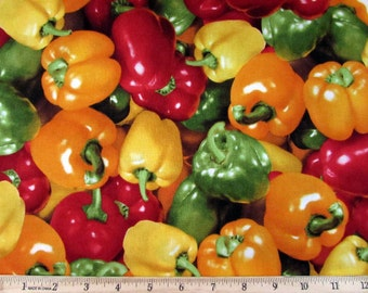 Realistic Vegetable Multi Colored Bell Peppers Fabric From RJR