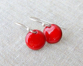 round earrings red enamel dangle earrings sterling silver vitreous enamel cherry red drop earrings pill shiny vitreous enamel earrings