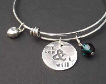 I Can and I Will bracelet, Don't Quit bangle, Inspirational jewelry, Graduation gift, Gifts for her. Never Give Up bangle