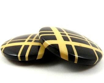Vintage Czechoslovakia Celluloid Belt Buckle Black Plaid Button 2 Piece