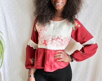 Crop Top, Red Top, Vintage, Boho, Embroidered Blouse, Crochet Top, Blouse, Silk Top, Peasant Top, Hungarian top, Boho Clothing, Floral