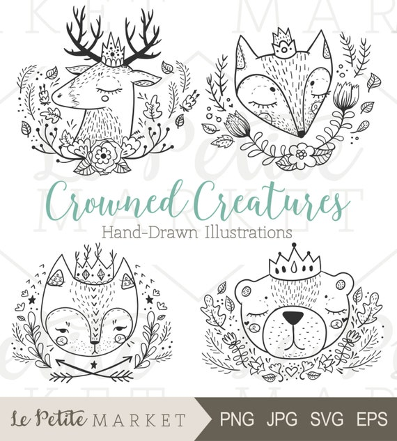 Cute Hand Drawn Forest Animals Forest Animals With Crowns