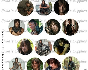The Walking Dead-Daryl Dixon- Daryl Dixon Zombie Apocalypse Norman Reedus 1 inch Bottle Caps Digital Image Download  5.8 x 7.5